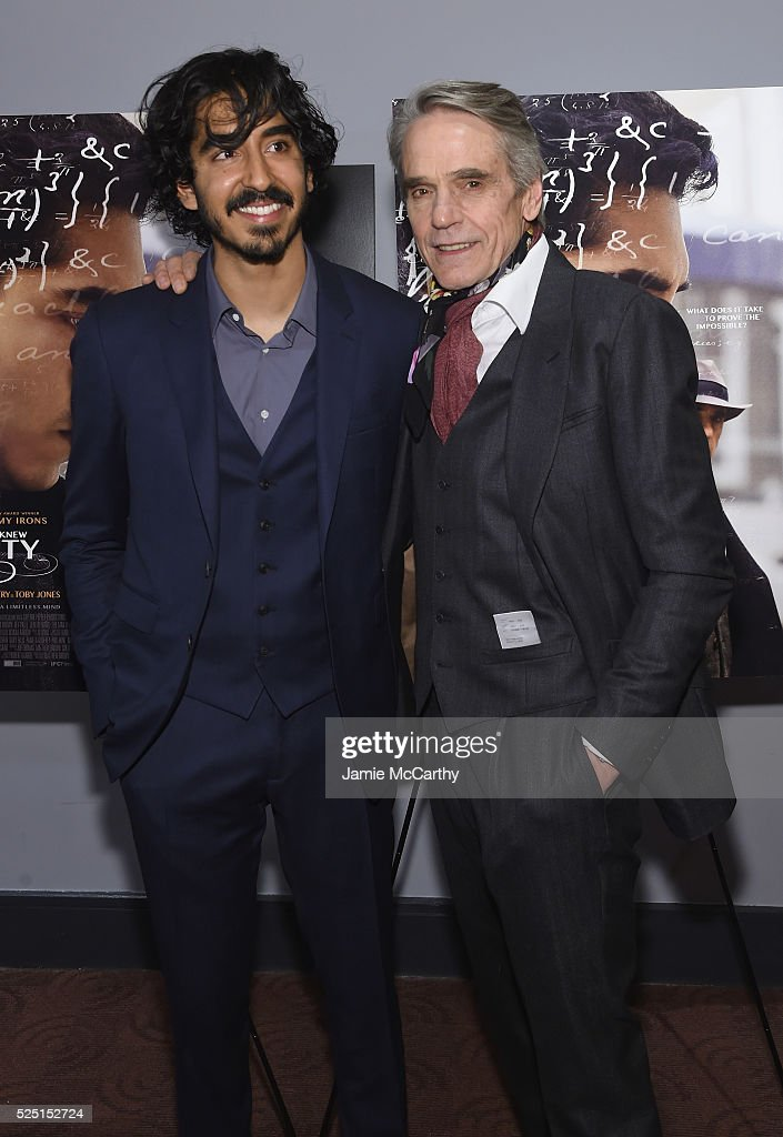Actors Dev Patel (L) and Jeremy Irons attend 'The Man Who Knew Infinity' New York screening at Chelsea Bow Tie Cinemas on April 27, 2016 in New York City.