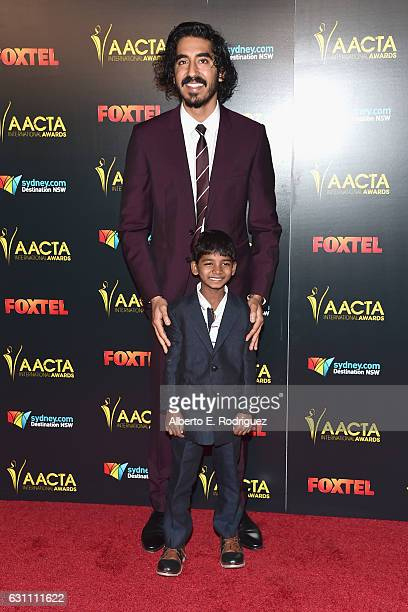 Actors Dev Patel and Sunny Pawar attend the 6th AACTA International Awards at Avalon Hollywood on January 6 2017 in Los Angeles California