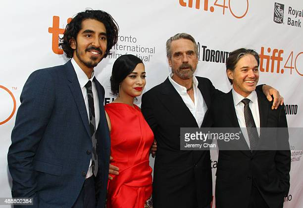 """Actors Dev Patel, Devika Bhise, Jeremy Irons and Writer/Director Matt Brown attend """"The Man Who Knew Infinity"""" premiere during the 2015 Toronto..."""