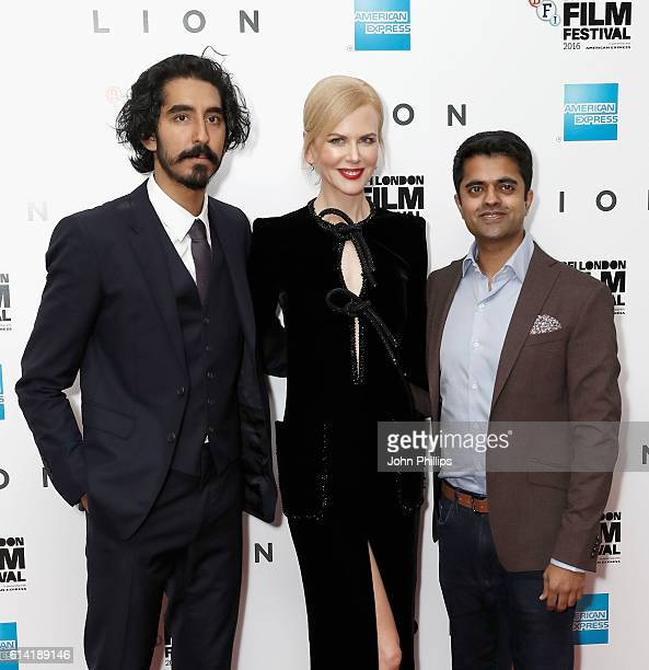 Actors Dev Patel Nicole Kidman and Divian Ladwa attend the 'Lion' American Express Gala screening during the 60th BFI London Film Festival at Odeon...