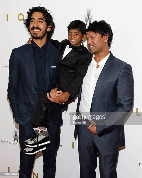 Actors Dev Patel Sunny Pawar and Saroo Brierley attend the 'Lion' New York premiere at Museum of Modern Art on November 16 2016 in New York City