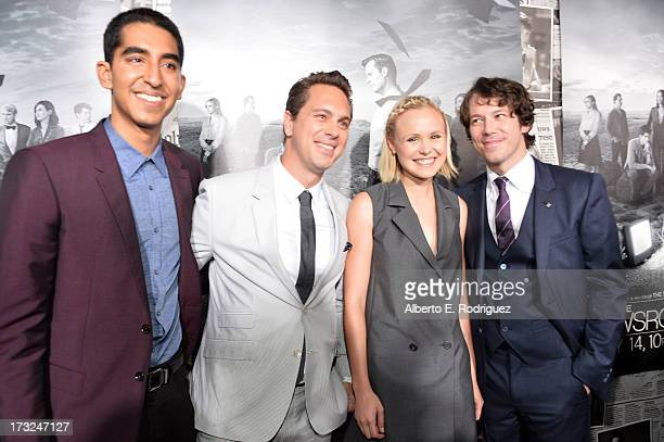 Actors Dev Patel Thomas Sadoski Alison Pill and John Gallagher Jr arrive for the premiere of HBO's The Newsroom Season 2 at Paramount Theater on the...