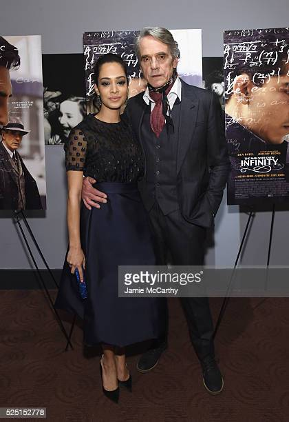"""Actors Devika Bhise and Jeremy Irons attend """"The Man Who Knew Infinity"""" New York screening at Chelsea Bow Tie Cinemas on April 27, 2016 in New York..."""
