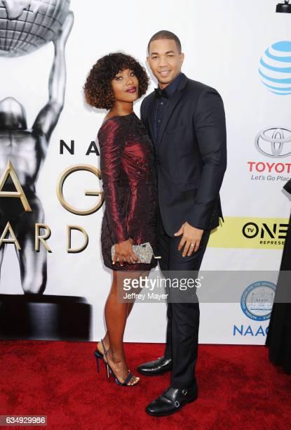 Actors DeWanda Wise and Alano Miller arrive at the 48th NAACP Image Awards at Pasadena Civic Auditorium on February 11 2017 in Pasadena California
