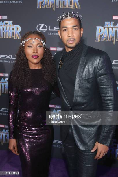 Actors DeWanda Wise and Alano Miller at the Los Angeles World Premiere of Marvel Studios' BLACK PANTHER at Dolby Theatre on January 29 2018 in...