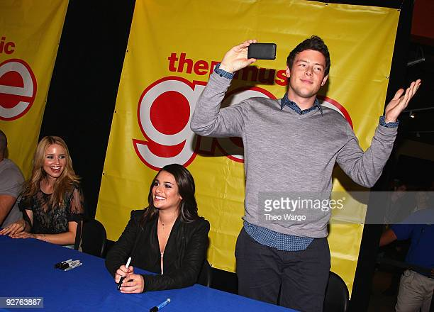 """Actors Diana Agron, Lea Michele and Cory Monteith attend the cast of """"Glee"""" signing copies of """"Glee: The Music Vol. 1"""" at Best Buy on November 4,..."""