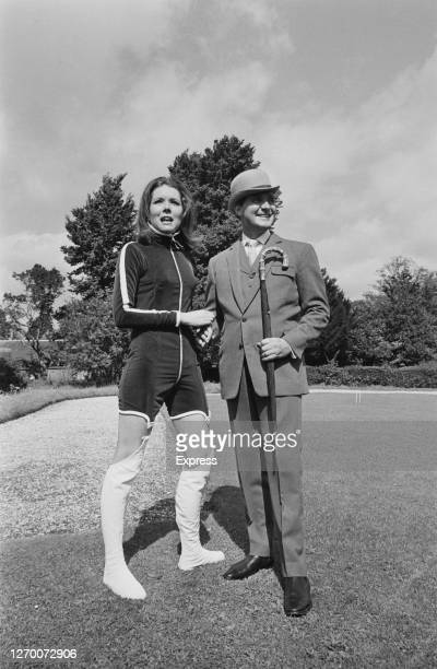 Actors Diana Rigg and Patrick Macnee filming the British television series 'The Avengers' at Beaulieu in Hampshire, UK, September 1966.