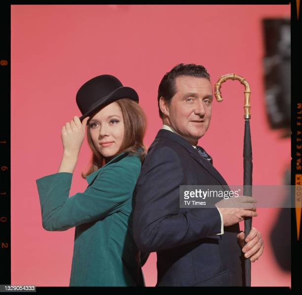 Actors Diana Rigg and Patrick Macnee in character as Emma Peel and John Steed in action/thriller series The Avengers, circa 1964.