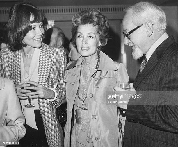 Actors Diana Rigg, Lilli Palmer and David Kossoff chatting as they attend a Foyles Literary Luncheon marking the publication of Lilli Palmer's...
