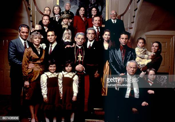 Actors Diane Keaton John Savage Donald Donnelly Al Pacino Sofia Coppola Andy Garcia Eli Wallach and Talia Shire on the set of The Godfather Part III...