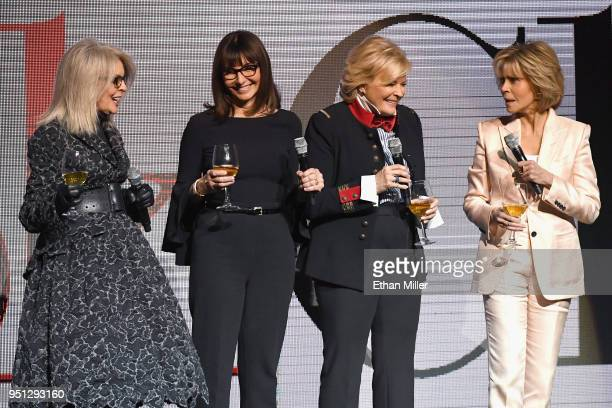 Actors Diane Keaton Mary Steenburgen Candice Bergen and Jane Fonda speak onstage during the CinemaCon 2018 Paramount Pictures Presentation...