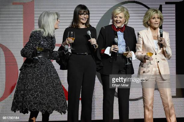 Actors Diane Keaton, Mary Steenburgen, Candice Bergen and Jane Fonda speak onstage during the CinemaCon 2018 Paramount Pictures Presentation...