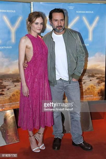 Actors Diane Kruger and actor Gilles Lellouche attend the 'Sky' Paris Premiere at UGC Cine Cite des Halles on April 4 2016 in Paris France