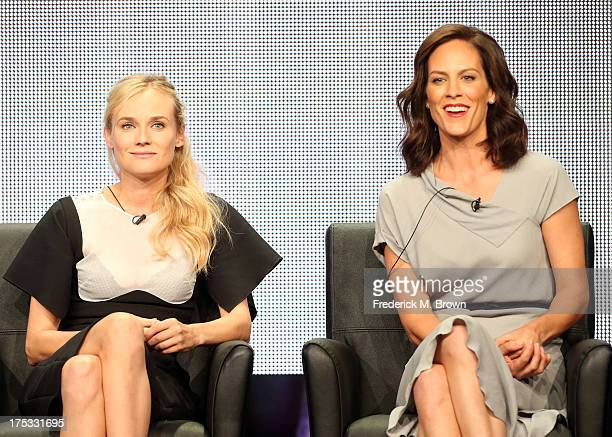 Actors Diane Kruger and Annabeth Gish speak onstage during The Bridge panel discussion at the FX portion of the 2013 Summer Television Critics...