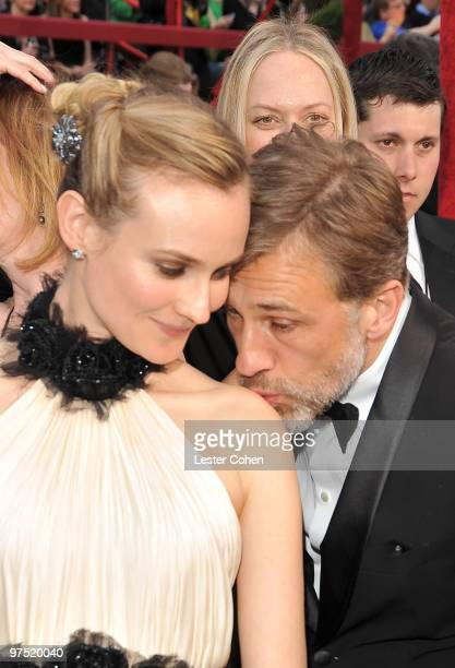 Actors Diane Kruger and Christoph Waltz arrive at the 82nd Annual Academy Awards held at the Kodak Theatre on March 7 2010 in Hollywood California