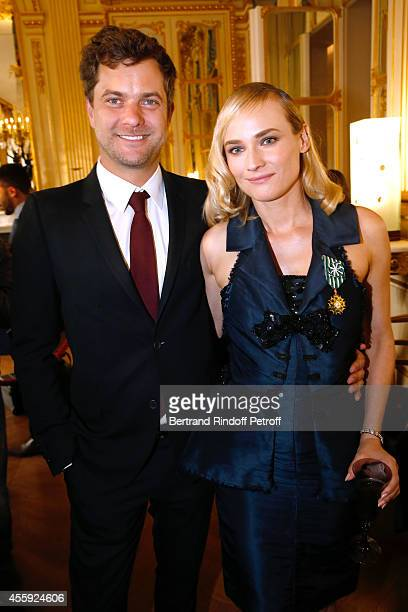 Actors Diane Kruger and her companion Joshua Jackson pose after Diane Kruger received the insignia of Officer of the Order of Arts and Letters at...