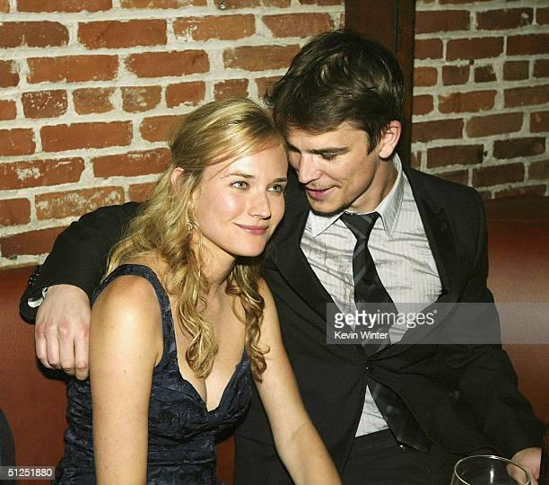 "Actors Diane Kruger and Josh Hartnett talk at the after-party for the premiere of MGM's ""Wicker Park"" at Blue on August 3, 2004 in Los Angeles,..."