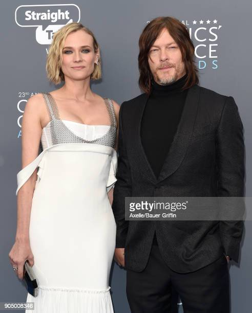 Actors Diane Kruger and Norman Reedus attend the 23rd Annual Critics' Choice Awards at Barker Hangar on January 11, 2018 in Santa Monica, California.