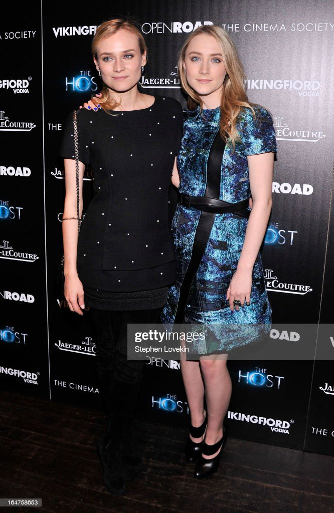 Actors Diane Kruger and Saoirse Ronan attend The Cinema Society and Jaeger-LeCoultre Hosts A Screening Of 'The Host' at Tribeca Grand Hotel on March 27, 2013 in New York City.