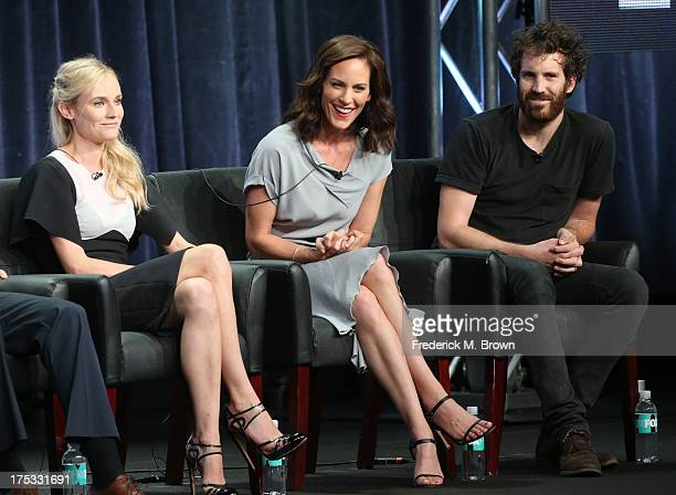 Actors Diane Kruger Annabeth Gish and Thomas M Wright speak onstage during The Bridge panel discussion at the FX portion of the 2013 Summer...