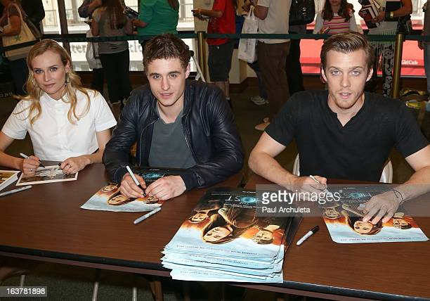 Actors Diane Kruger Max Irons and Jake Abel sign copies of The Host at Barnes Noble bookstore at The Grove on March 15 2013 in Los Angeles California