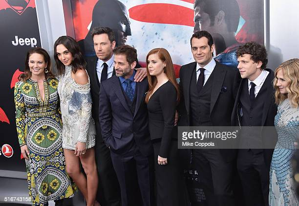 Actors Diane Lane Gal Gadot Ben Affleck Amy Adams Henry Cavill Jesse Eisenberg and Holly Hunter attend The 'Batman V Superman Dawn Of Justice' New...