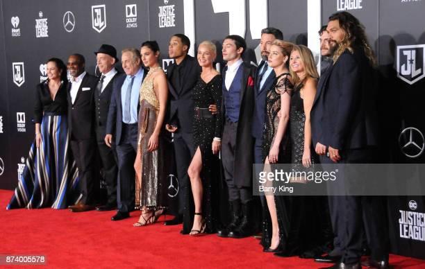 Actors Diane Lane Joe Morton JK Simmons Gal Gadot Ray Fisher Connie Nielsen Ezra Miller Ben Affleck Amber Heard Jason Momoa and Henry Cavill attend...