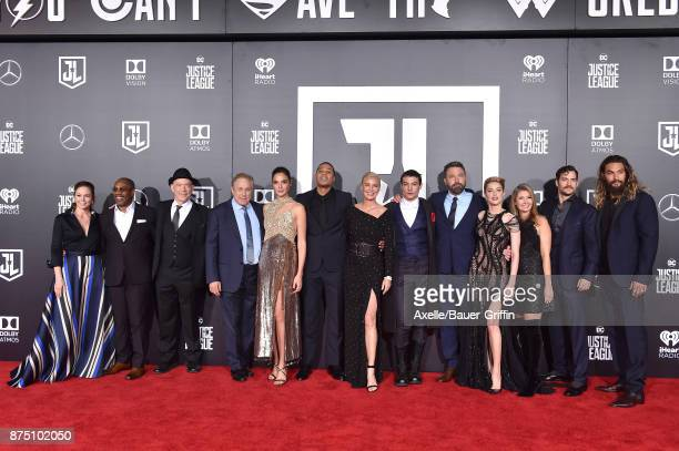 Actors Diane Lane Joe Morton JK Simmons Gal Gadot Ray Fisher Connie Nielsen Ezra Miller Ben Affleck Amber Heard Henry Cavill and Jason Momoa arrive...