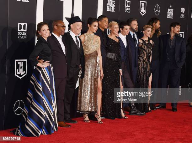 Actors Diane Lane Joe Morton JK Simmons Gal Gadot Ray Fisher Connie Nielsen Ezra Miller Ben Affleck Amber Heard Jason Momoa and Henry Cavill arrive...