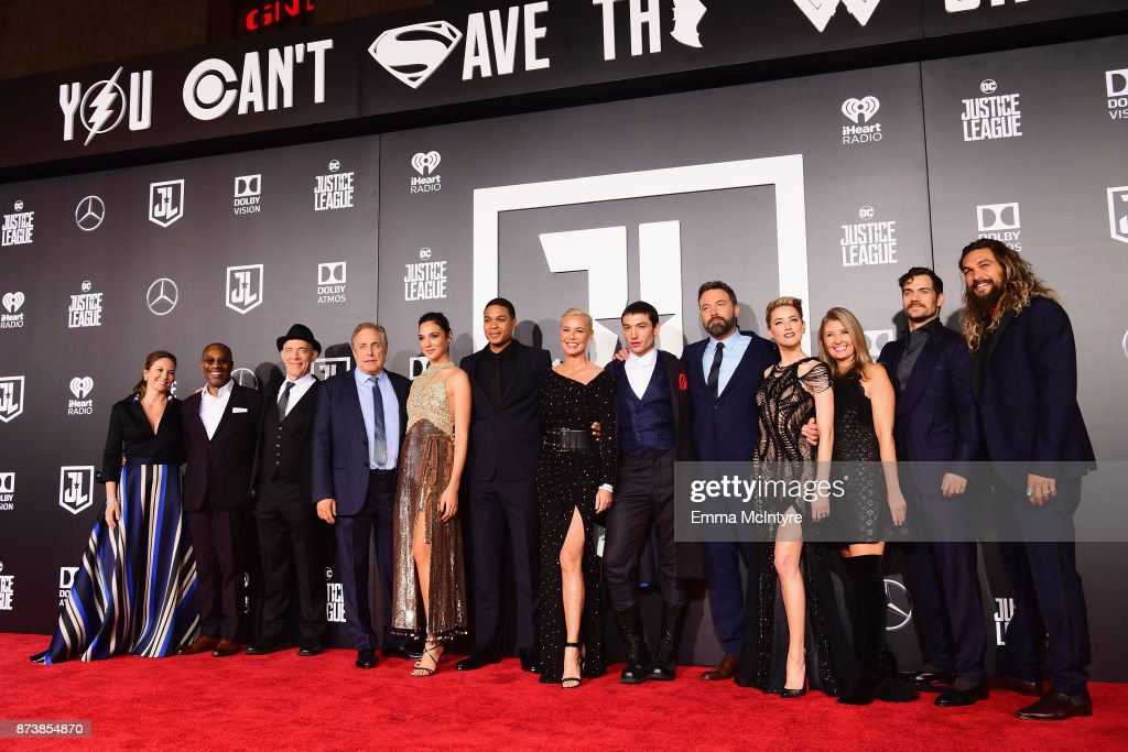 Actors Diane Lane, Joe Morton, JK Simmons, producer Chuck Roven, actors Gal Gadot, Ray Fisher, Connie Nielsen, Ezra Miller, Ben Affleck, Amber Heard, producer Deborah Snyder, actors Henry Cavill and Jason Momoa attend the premiere of Warner Bros. Pictures' 'Justice League' at Dolby Theatre on November 13, 2017 in Hollywood, California.
