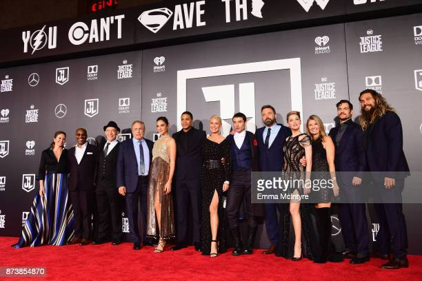 Actors Diane Lane, Joe Morton, JK Simmons, producer Chuck Roven, actors Gal Gadot, Ray Fisher, Connie Nielsen, Ezra Miller, Ben Affleck, Amber Heard,...