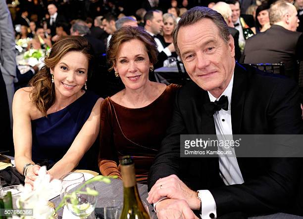 Actors Diane Lane, Robin Dearden and Bryan Cranston pose during The 22nd Annual Screen Actors Guild Awards at The Shrine Auditorium on January 30,...
