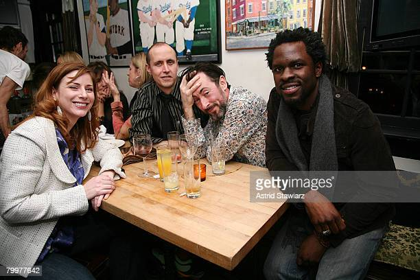 Actors Diane Neal Grant Shaffer Alan Cumming and Gbenga Akinnagbe attend the New York Magazine Oscar Viewing Party held inside The Spotted Pig on...