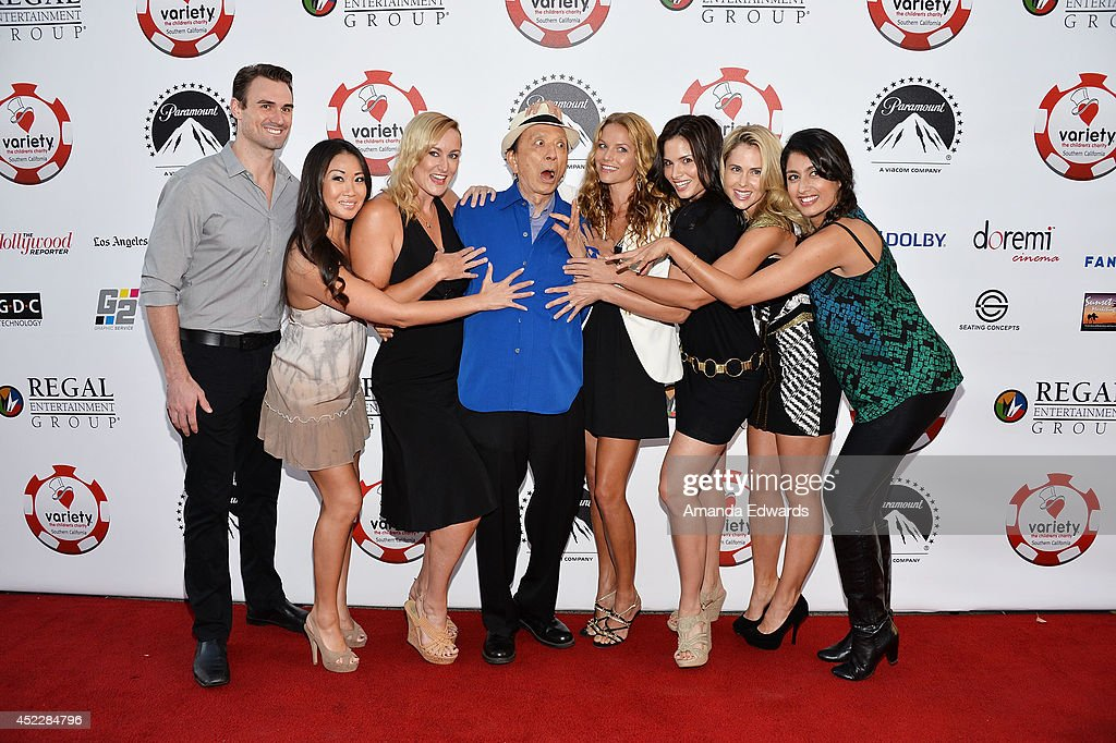 Actors Diane Yang, Vanessa Cater, James Hong, Ellen Hollman, Katrina Law, Anna Hutchison and Karishma Ahluwalia arrive at the 4th Annual Variety - The Children's Charity of Southern CA Texas Hold 'Em Poker Tournament at Paramount Studios on July 16, 2014 in Hollywood, California.