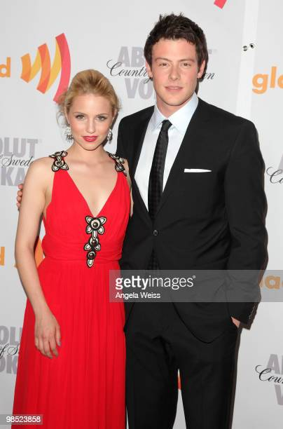 Actors Dianna Agron and Cory Monteith arrive at the 21st Annual GLAAD Media Awards held at Hyatt Regency Century Plaza on April 17 2010 in Century...