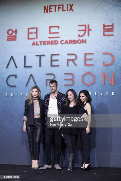 Actors Dichen Lachman Joel Kinnaman screenwriter Laeta Kalogridis and Martha Higareda attend the press conference for NETFLIX's 'Altered Carbon' on...