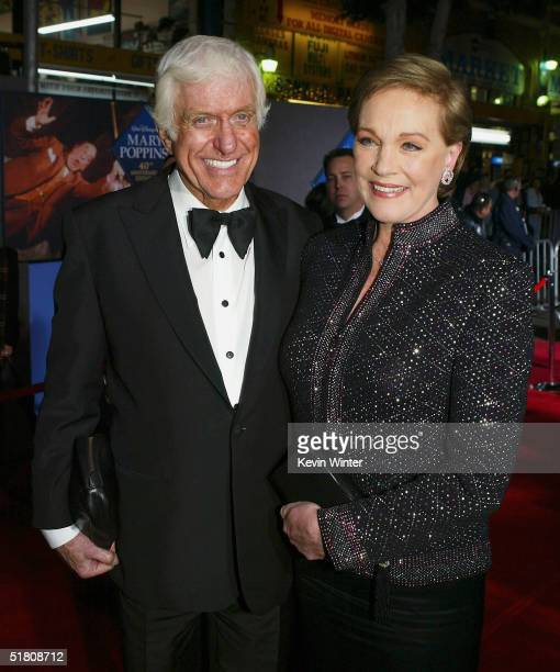 Actors Dick Van Dyke and Julie Andrews pose at Disney's 'Mary Poppins' 40th Anniversary Edition DVD release party at El Capitan Theater on Novenber...