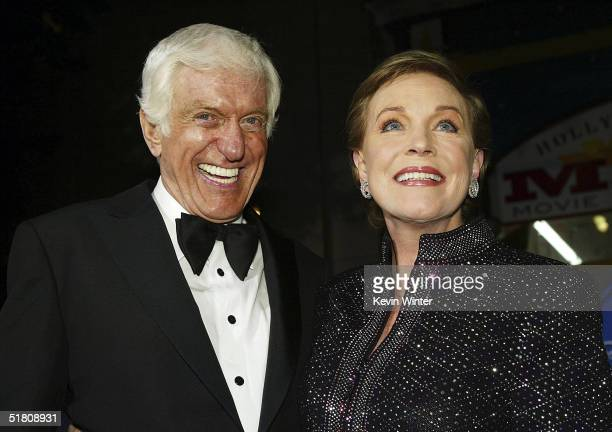 Actors Dick Van Dyke and Julie Andrews pose at Disney's Mary Poppins 40th Anniversary Edition DVD release party at El Capitan Theater on Novenber 30...