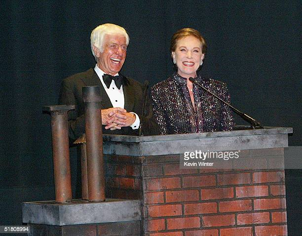 Actors Dick Van Dyke and Julie Andrews speak to the audience before the screening at Disney's Mary Poppins 40th Anniversary Edition DVD release party...