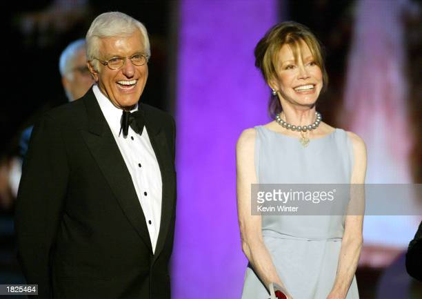 Actors Dick Van Dyke and Mary Tyler Moore accept the Legend Award for The Dick Van Dyke Show during the TV Land Awards 2003 at the Hollywood...