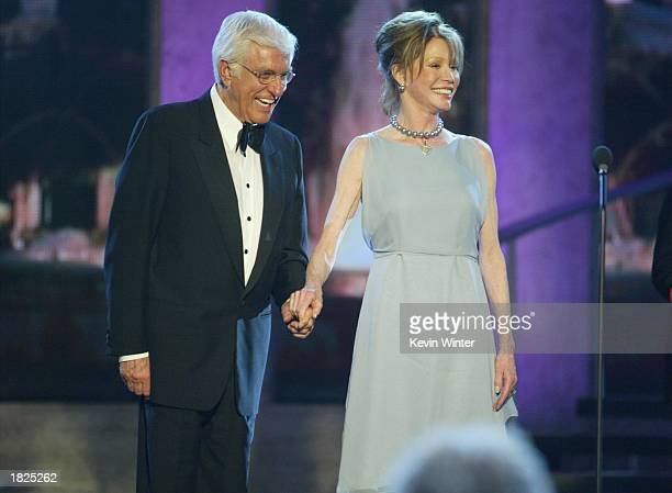 Actors Dick Van Dyke and Mary Tyler Moore from The Dick Van Dyke Show accept their Legend Award during the TV Land Awards 2003 at the Hollywood...