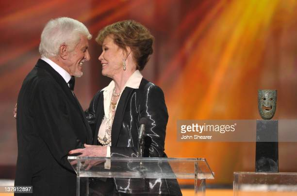 Actors Dick Van Dyke and Mary Tyler Moore speak onstage during The 18th Annual Screen Actors Guild Awards broadcast on TNT/TBS at The Shrine...
