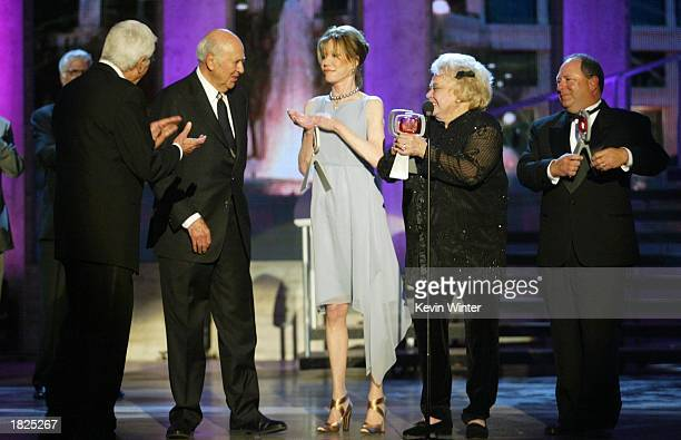 Actors Dick Van Dyke Carl Reiner Mary Tyler Moore Rose Marie and Larry Mathews from The Dick Van Dyke Show accept their Legend Award during the TV...