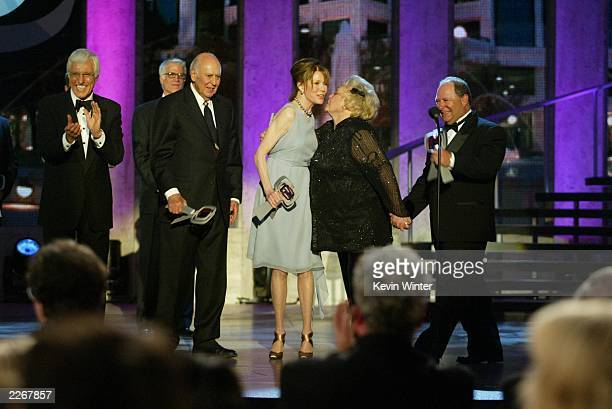 Actors Dick Van Dyke Carl Reiner Mary Tyler Moore Rose Marie and Larry Mathews from 'The Dick Van Dyke Show' accept their Legend Award as actor Ted...