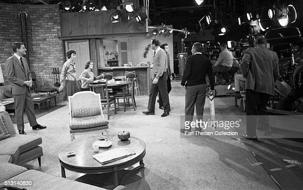 Actors Dick Van Dyke Mary Tyler Moore and Ann Morgan Guilbert with writer producer director and actor Carl Reiner in rehearsal for The Dick Van Dyke...