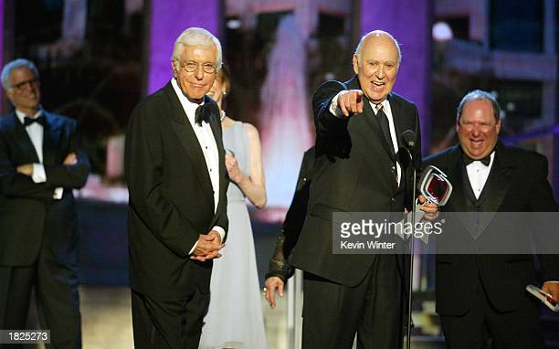 Actors Dick Van Dyke Mary Tyler Moore Carl Reiner and Larry Mathews from The Dick Van Dyke Show accept their Legend Award as actor Ted Danson looks...