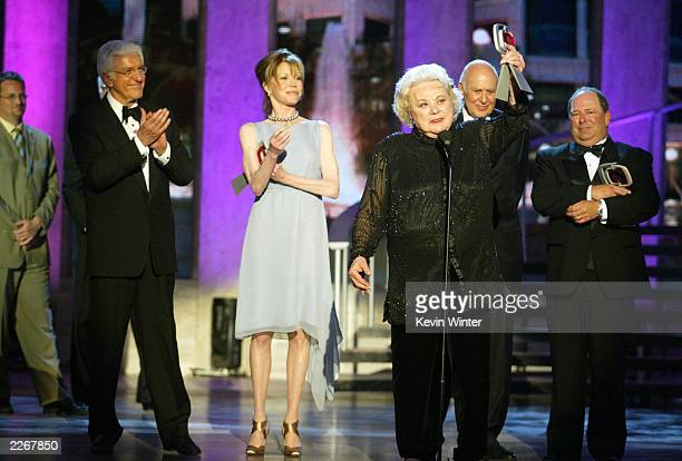 Actors Dick Van Dyke Mary Tyler Moore Rose Marie Carl Reiner and Larry Mathews from 'The Dick Van Dyke Show' accept their Legend Award during the TV...