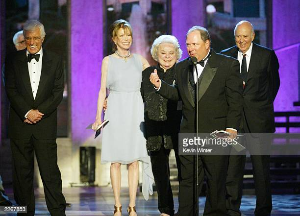 Actors Dick Van Dyke Mary Tyler Moore Rose Marie Larry Mathews and Carl Reiner from 'The Dick Van Dyke Show' accept their Legend Award during the TV...
