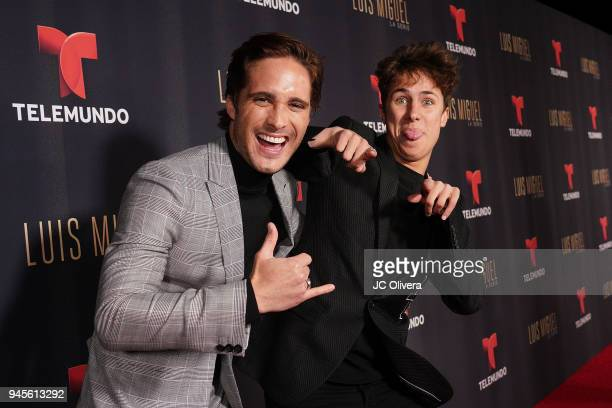 Actors Diego Boneta and Juanpa Zurita attend the screening of Telemundo's 'Luis Miguel La Serie' at a Private Residence on April 12 2018 in Beverly...