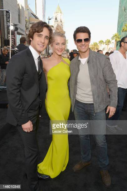 Actors Diego Boneta Julianne Hough and Tom Cruise arrive at the Rock of Ages Los Angeles premiere held at Grauman's Chinese Theatre on June 8 2012 in...